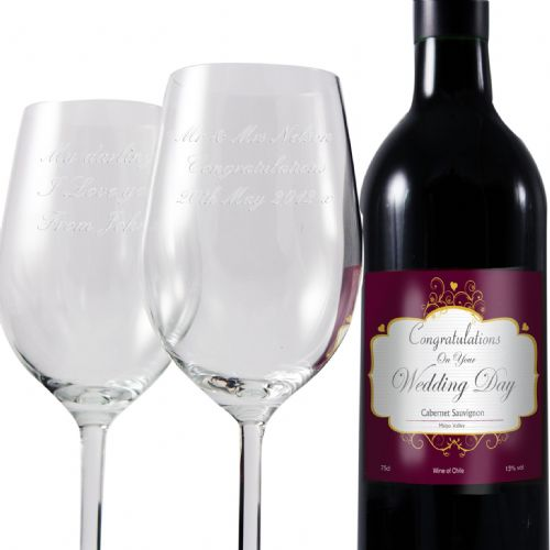 Personalised Wedding Red Wine and Two Glasses